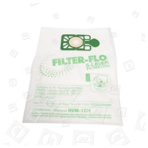 Numatic NVM-1CH Filter-Flo Synthetische Staubsaugerbeutel (10er Pack)