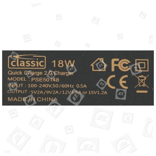 Chargeur Usb Qualcomm 2. 0 18W - Prise Anglaise - Classic Power