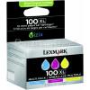 Lexmark Genuine 100XL 3 Colour High Yield Ink Cartridges Multi-Pack - Cyan/Magenta/Yellow - 14N0850