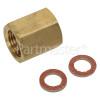 Beko Gas Pipe Brass Screw Adaptor And 2 Nozzle Seals