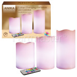 3 Piece Colour Changing Flameless LED Candles