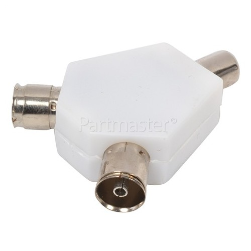 Universal Co-axial Plug To 2 Sockets
