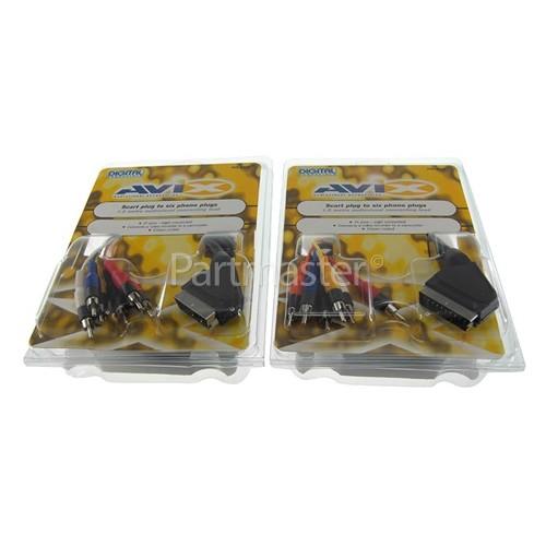 Avix Scart Plug To 6 X Phono Plugs