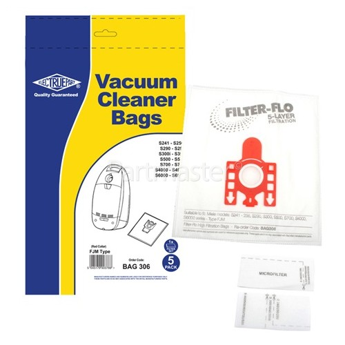 Cat FJM Filter-Flo Synthetic Dust Bags (Pack Of 5 With 2 Cut To Size Filters) - BAG306