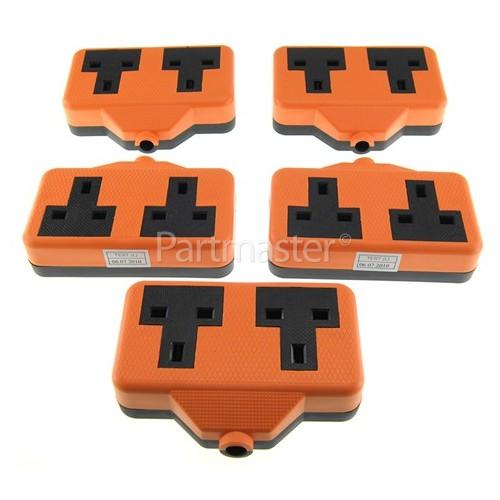 Duraplug Bulk 13A Rubberised Orange Twin Trailing Socket