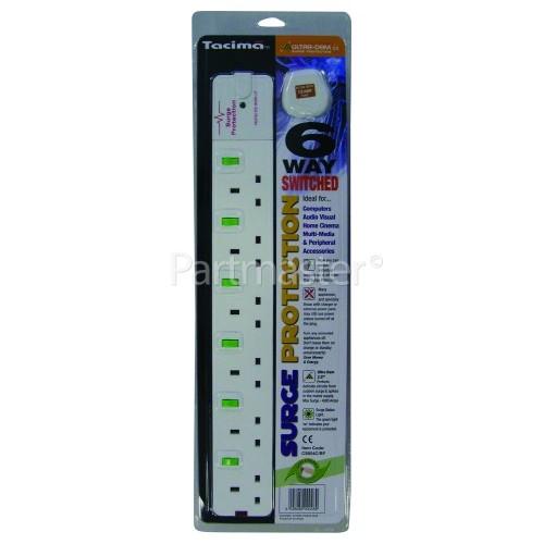 Tacima 6-Way Switched Surge Protected Mains Extension - UK Plug