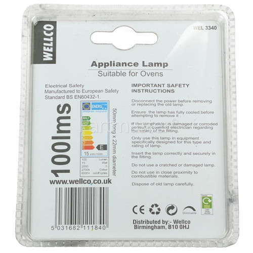 Wellco 15W SES (E14) 300º Pygmy Oven Lamp