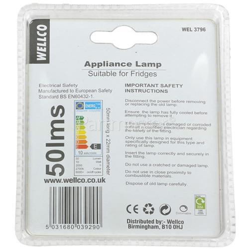 Wellco 10W SES (E14) Pygmy Lamp - Warm White (fridges Etc. Appliance Lamp