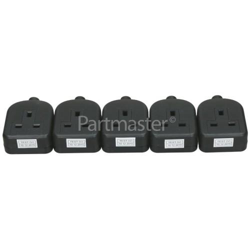 Wellco Bulk 13A Black Single Trailing Socket Rubberised (Box Of 5)