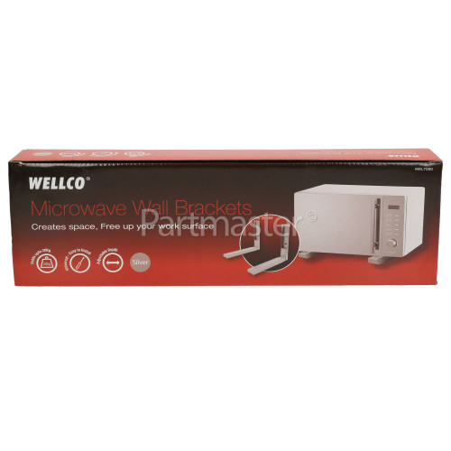 Wellco 5MA16100/04 Microwave Oven Wall Bracket (Pair) Silver