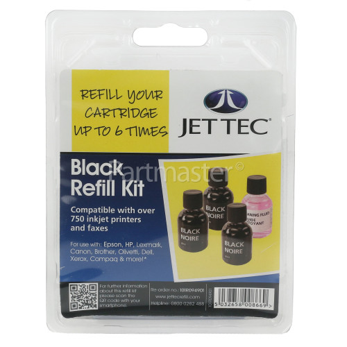 Jettec Black Ink Cartridge Refill Kit