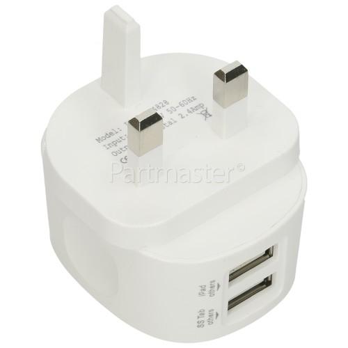 Universal Dual 2.4A USB Plug Charger - UK Plug