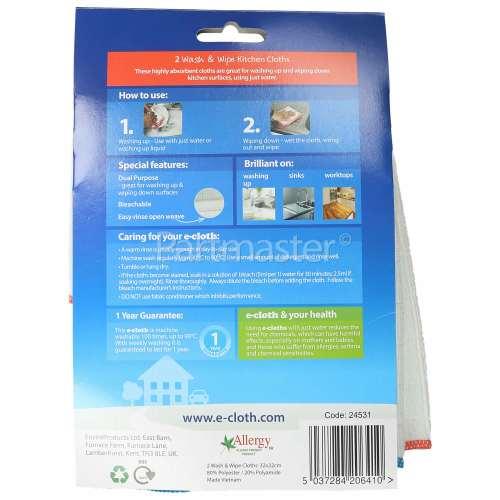 E-Cloth Antibacterial Wash & Wipe Kitchen E-Cloths - Pack Of 2 (Microfibre Cloth)