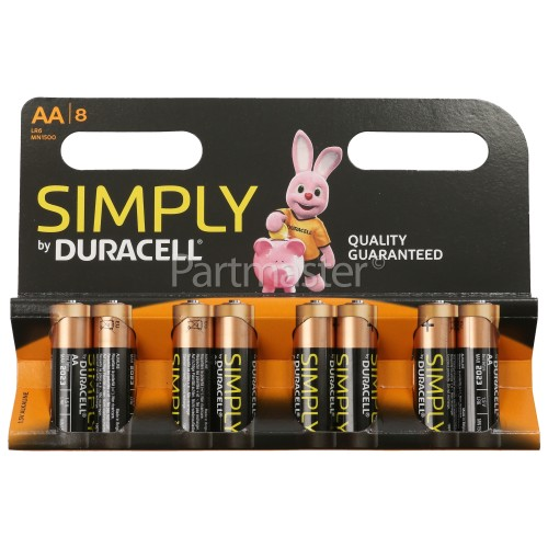 Duracell Simply Alkaline AA Batteries - Pack Of 8