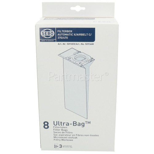 Sebo 5093ER Vacuum Cleaner Automatic X / Airbelt C Filter Bag (Pack Of 8)