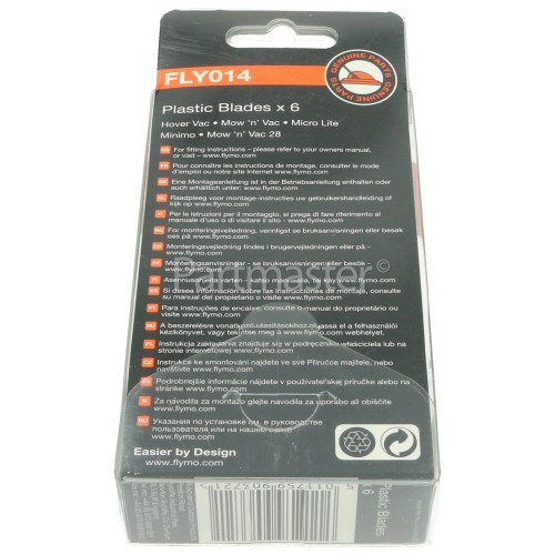 Flymo FLY014 Plastic Blades (Pack Of 6) : Flymo Models: Hovervac 28, Hovervac 2800 (HV2800), Hovervac 30 (2006-), Hovervac Dual Handle, Hover Vac 280 (HV280), Microlite, Minimo (2002-), Mow N Vac 28