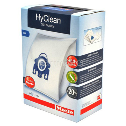 Miele GN HyClean 3D Efficiency Dust Bag & Filter Kit - Pack Of 4 Bags