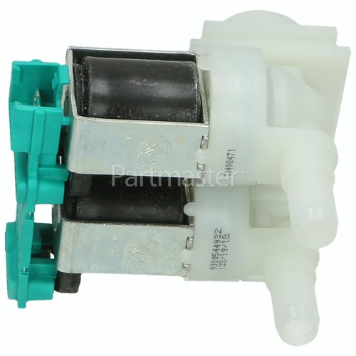 Bosch Neff Siemens Cold Water Double Solenoid Inlet Valve : 180Deg. With 10.5 Bore Outlets