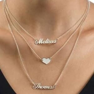 Customize Gold plated Triple Chain Double Name Necklace