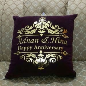 Customized Foil Printed Happy Anniversary Cushion
