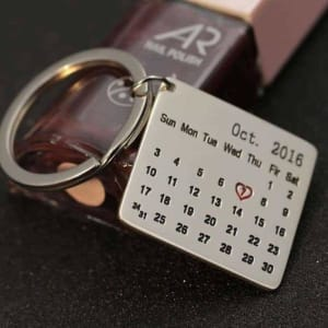 Customize Calendar Engraved Keychain