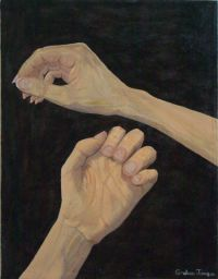 Oil painting of the artist's hands