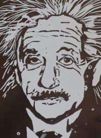 Original lino print of Albert Einstein