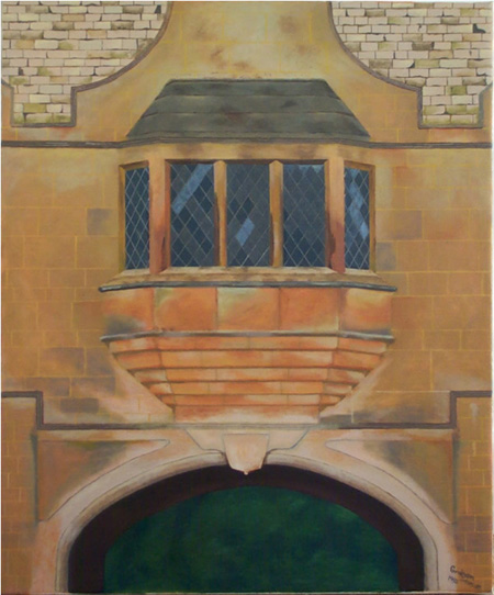 Stanway House - oil painting of Jacobean gatehouse in Cotswold stone
