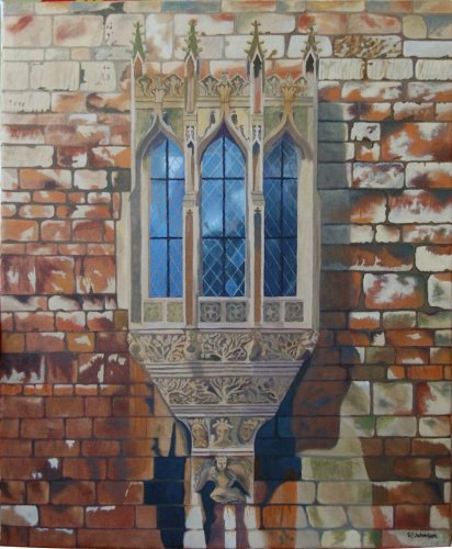 Oil painting of the oriel window in Lincoln, England