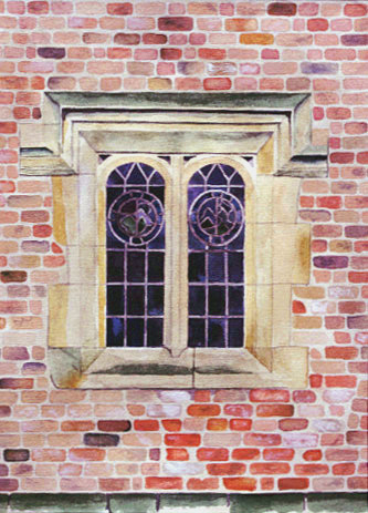 Medieval brick window.