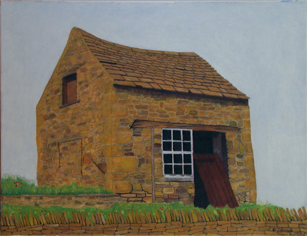 Lonely barn painting.