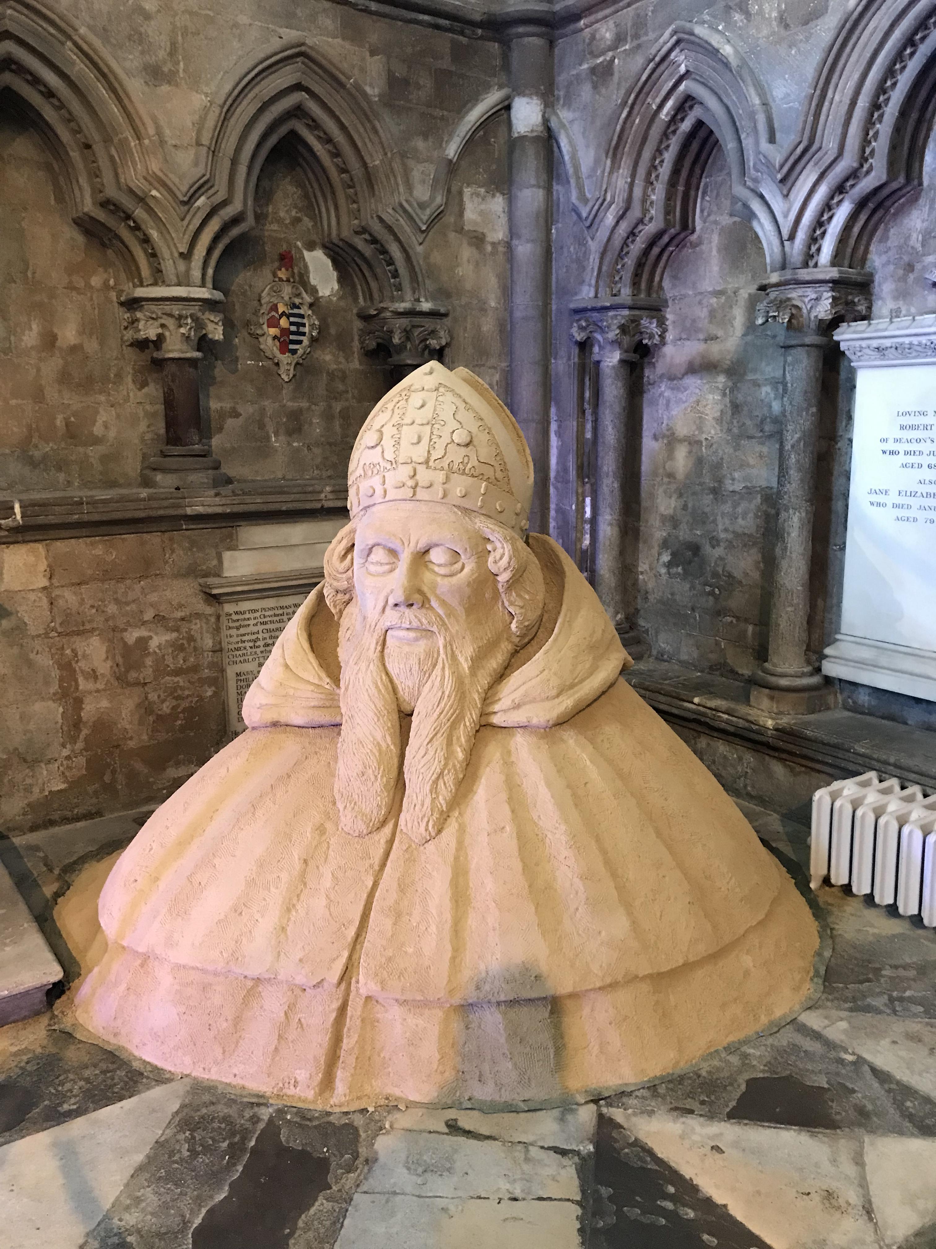St John of Beverley in sand art.