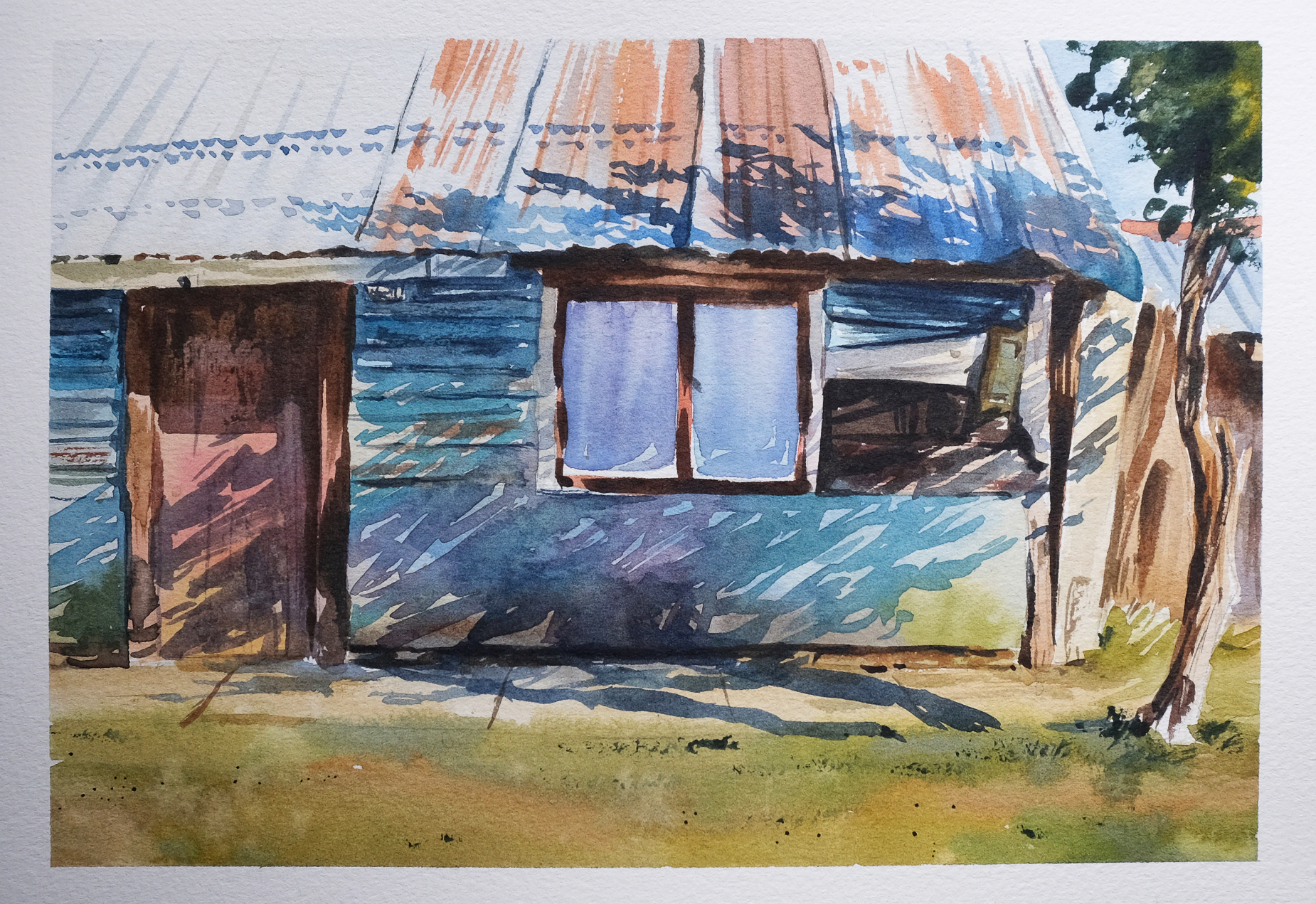 Watercolour painting of a building with a shadow from a nearby tree cast upon it.