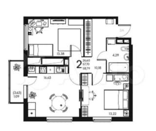 2-к квартира, 58.8 м², 2/17 эт.