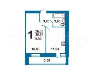 1-к квартира, 41.3 м², 5/10 эт.