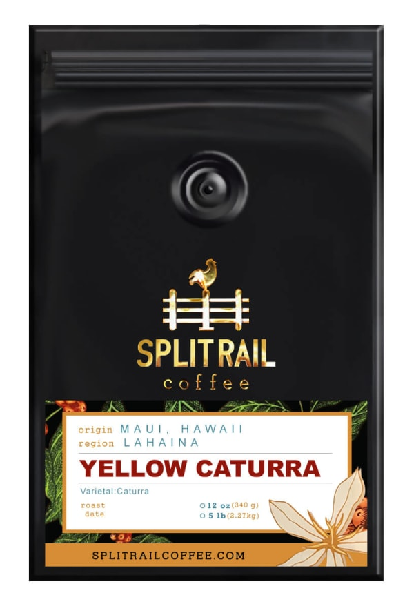 Hawaiian Yellow Caturra is a single origin, small batch coffee that is velvety and spicy