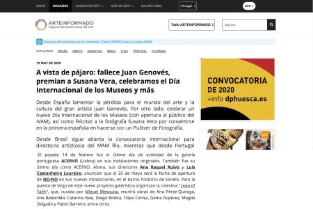 A vista de pájaro: fallece Juan Genovés, premian a Susana Vera, celebramos el Día Internacional de los Museos y más