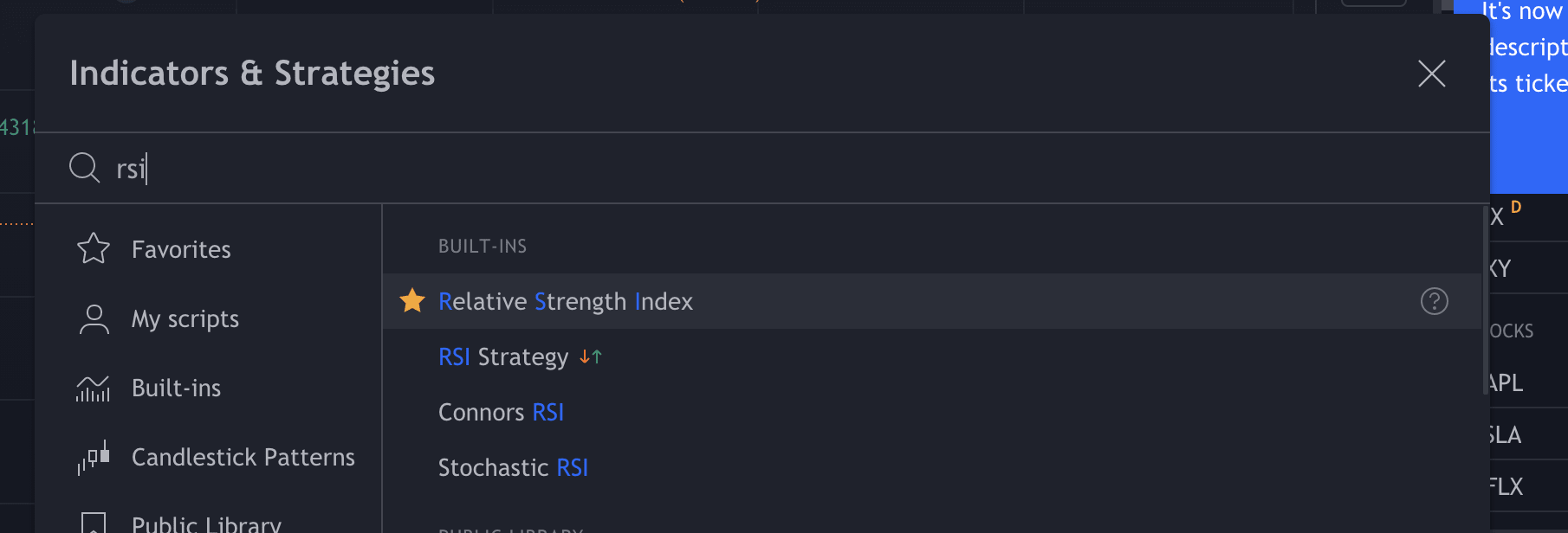 Look up the basic RSI pine script