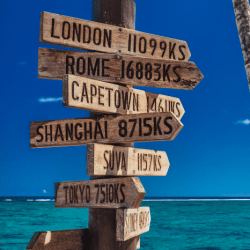 Which countries require you to have travel insurance? Sign posts for each city