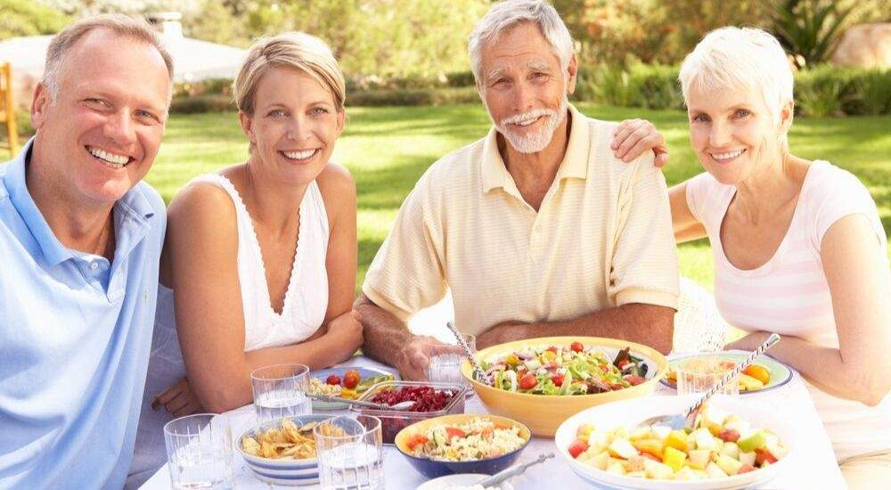 Diabetes and Eating Healthy: Senior family enjoying outside meal