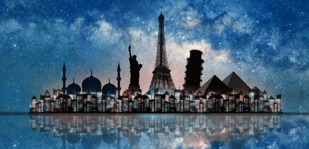 Top 10 safest countries to visit in the world 2018: landmarks around the world travel banner