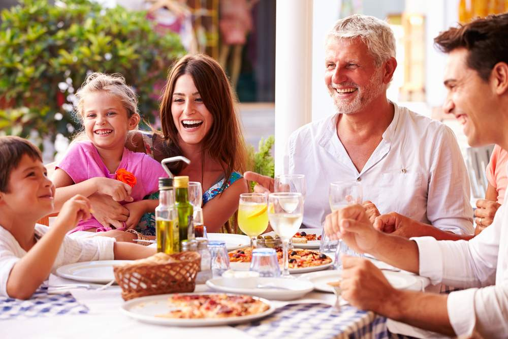 Living with a Stroke: multi generational family having dinner