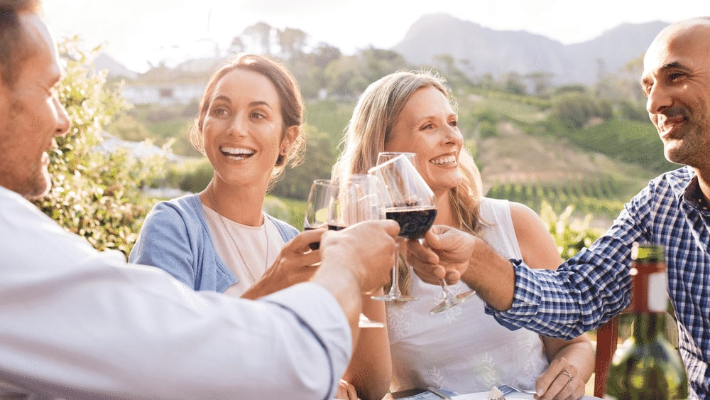 Top 5 wine tours in Europe: Mature friends enjoying wine party outdoors