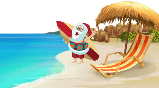 Christmas at home versus going on holiday: Santa at the beach