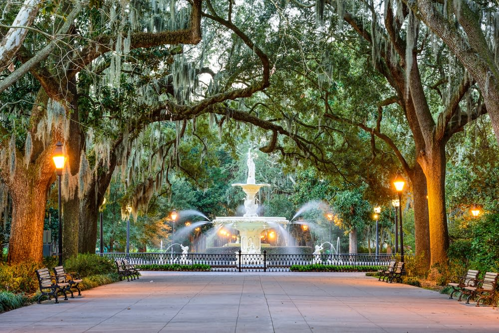 The 'new' most romantic destinations in the world: Savannah, Georgia, USA at Forsyth Park Fountain
