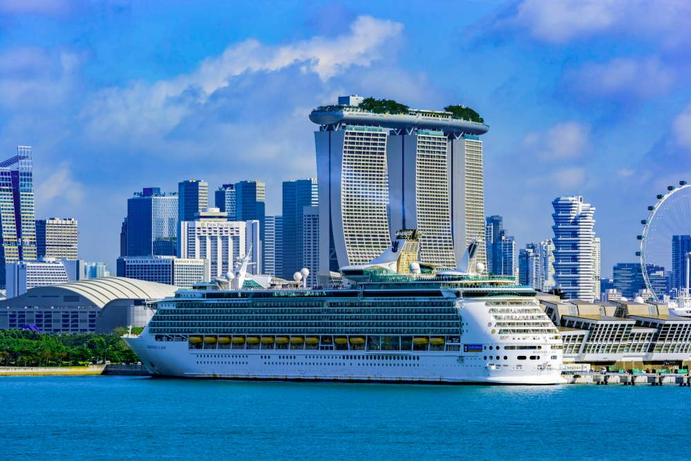 AllClear customers The Cook family enjoying a cruise passenger ship 'Mariner of the Seas' from Royal Caribbean International berthed at Marina Bay in Singapore
