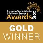 European contact centre & customer service awards 2019 Gold winner