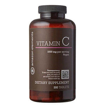 Amazon Brand - Amazon Elements Vitamin C 1000mg, Vegan, 300 Tablets, 10 month supply