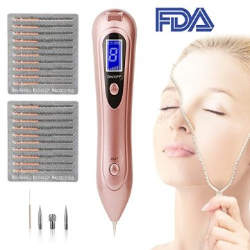 Mole Removal Pen, BDSii Portable USB Rechargeable Skin Tag Removal Tool Kit with 8 Strength Levels Professional Beauty Pen for Body Facial Freckle Nevus Warts Age Spot Tattoo Remover Beauty Skin