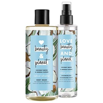 Love Beauty And Planet Radical Refresher Body Wash and Cleansing Mist, Coconut Water & Mimosa Flower, 16 oz and 6.7 oz